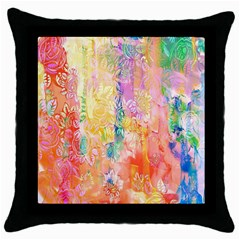 Watercolour Watercolor Paint Ink  Throw Pillow Case (black)