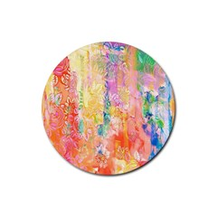 Watercolour Watercolor Paint Ink  Rubber Round Coaster (4 pack)