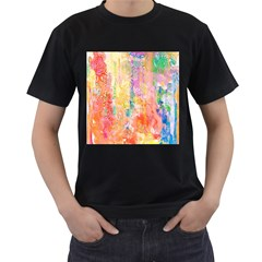 Watercolour Watercolor Paint Ink  Men s T-Shirt (Black) (Two Sided)