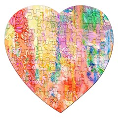 Watercolour Watercolor Paint Ink  Jigsaw Puzzle (Heart)