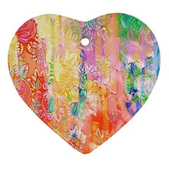 Watercolour Watercolor Paint Ink  Heart Ornament (two Sides)