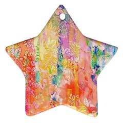 Watercolour Watercolor Paint Ink  Star Ornament (Two Sides)
