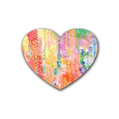 Watercolour Watercolor Paint Ink  Rubber Coaster (Heart)