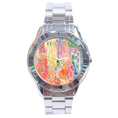 Watercolour Watercolor Paint Ink  Stainless Steel Analogue Watch
