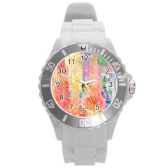 Watercolour Watercolor Paint Ink  Round Plastic Sport Watch (L)