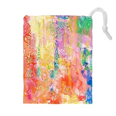 Watercolour Watercolor Paint Ink  Drawstring Pouches (Extra Large)