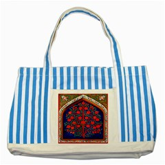 Tree Of Life Striped Blue Tote Bag