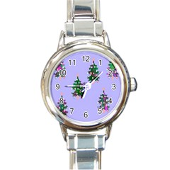 Watercolour Paint Dripping Ink  Round Italian Charm Watch