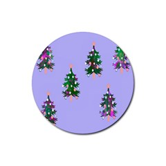 Watercolour Paint Dripping Ink  Rubber Coaster (Round)