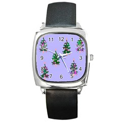 Watercolour Paint Dripping Ink  Square Metal Watch
