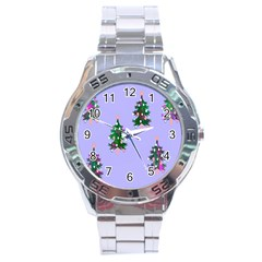 Watercolour Paint Dripping Ink  Stainless Steel Analogue Watch