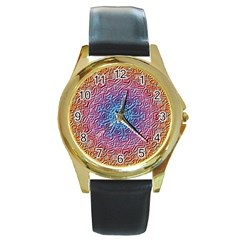 Tile Background Pattern Texture Round Gold Metal Watch