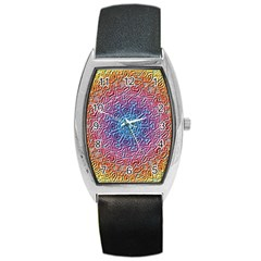 Tile Background Pattern Texture Barrel Style Metal Watch