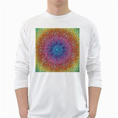 Tile Background Pattern Texture White Long Sleeve T-Shirts