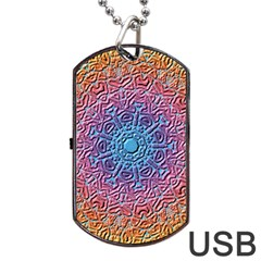 Tile Background Pattern Texture Dog Tag USB Flash (Two Sides)