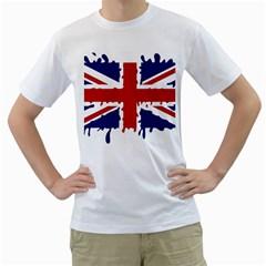Uk Splat Flag Men s T-Shirt (White) (Two Sided)