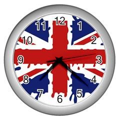 Uk Splat Flag Wall Clocks (Silver)