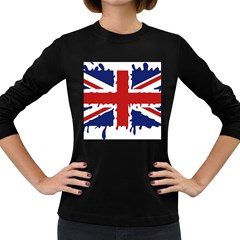 Uk Splat Flag Women s Long Sleeve Dark T-Shirts