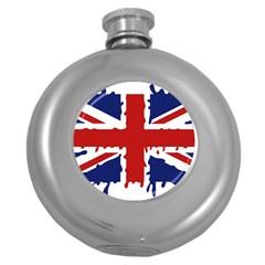 Uk Splat Flag Round Hip Flask (5 oz)