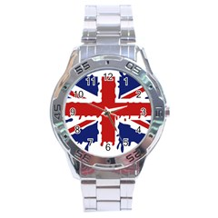 Uk Splat Flag Stainless Steel Analogue Watch