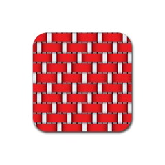 Weave And Knit Pattern Seamless Background Wallpaper Rubber Square Coaster (4 pack)