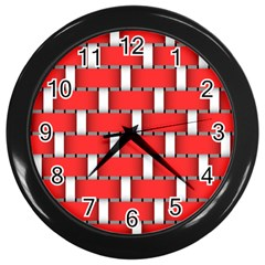 Weave And Knit Pattern Seamless Background Wallpaper Wall Clocks (Black)