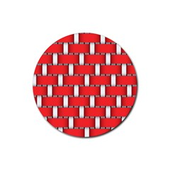 Weave And Knit Pattern Seamless Background Wallpaper Rubber Round Coaster (4 pack)