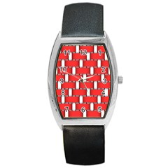 Weave And Knit Pattern Seamless Background Wallpaper Barrel Style Metal Watch