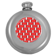 Weave And Knit Pattern Seamless Background Wallpaper Round Hip Flask (5 oz)