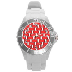 Weave And Knit Pattern Seamless Background Wallpaper Round Plastic Sport Watch (L)