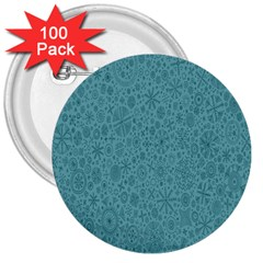White Noise Snow Blue 3  Buttons (100 pack)