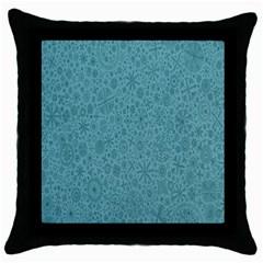 White Noise Snow Blue Throw Pillow Case (Black)