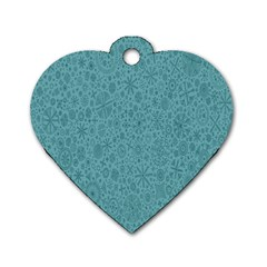 White Noise Snow Blue Dog Tag Heart (Two Sides)
