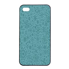 White Noise Snow Blue Apple iPhone 4/4s Seamless Case (Black)