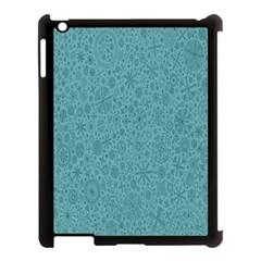 White Noise Snow Blue Apple iPad 3/4 Case (Black)
