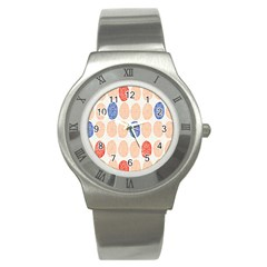 Wheel Circle Red Blue Stainless Steel Watch