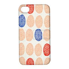 Wheel Circle Red Blue Apple iPhone 4/4S Hardshell Case with Stand