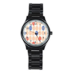 Wheel Circle Red Blue Stainless Steel Round Watch