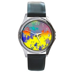 Tropical Cool Coconut Tree Round Metal Watch
