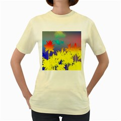 Tropical Cool Coconut Tree Women s Yellow T-Shirt