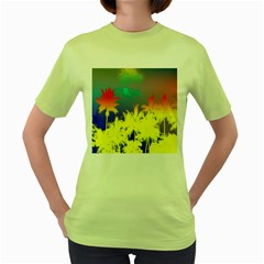 Tropical Cool Coconut Tree Women s Green T Shirt