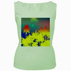 Tropical Cool Coconut Tree Women s Green Tank Top