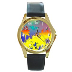 Tropical Cool Coconut Tree Round Gold Metal Watch