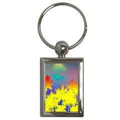Tropical Cool Coconut Tree Key Chains (Rectangle)
