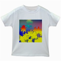 Tropical Cool Coconut Tree Kids White T-Shirts