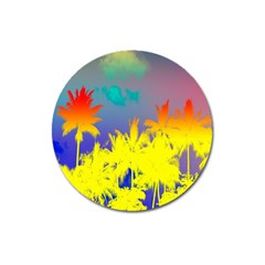 Tropical Cool Coconut Tree Magnet 3  (Round)
