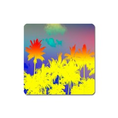 Tropical Cool Coconut Tree Square Magnet
