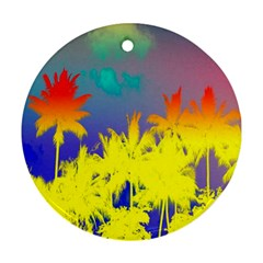 Tropical Cool Coconut Tree Round Ornament (Two Sides)
