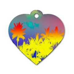 Tropical Cool Coconut Tree Dog Tag Heart (One Side)