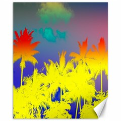 Tropical Cool Coconut Tree Canvas 11  x 14
